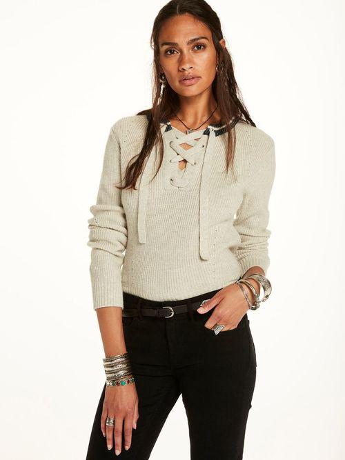 Maison Scotch Lace-Up Pullover
