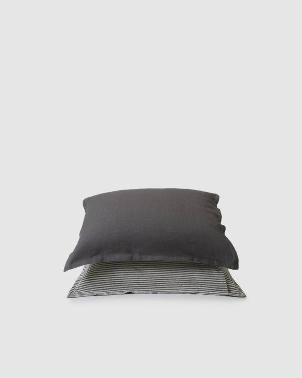 Sunday Morning Marcel Linen Duvet Set - Storm/Storm Stripe
