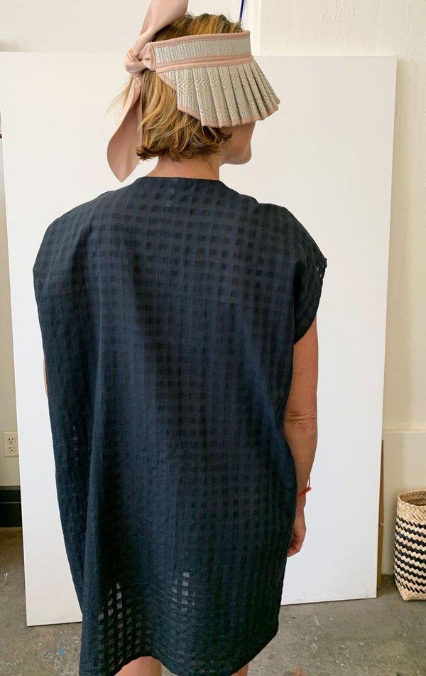 Two Bib Grid pocket tunic - charcoal black