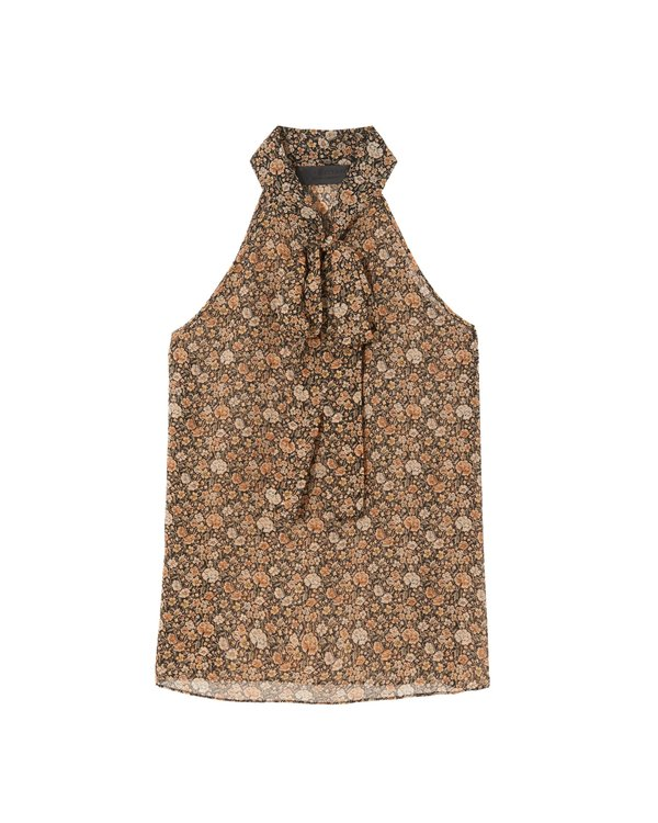 Nili Lotan Halter Tie Neck Blouse - Multi Floral Print