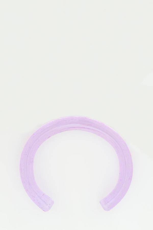 Keane Transparent Glass Cuff - Purple