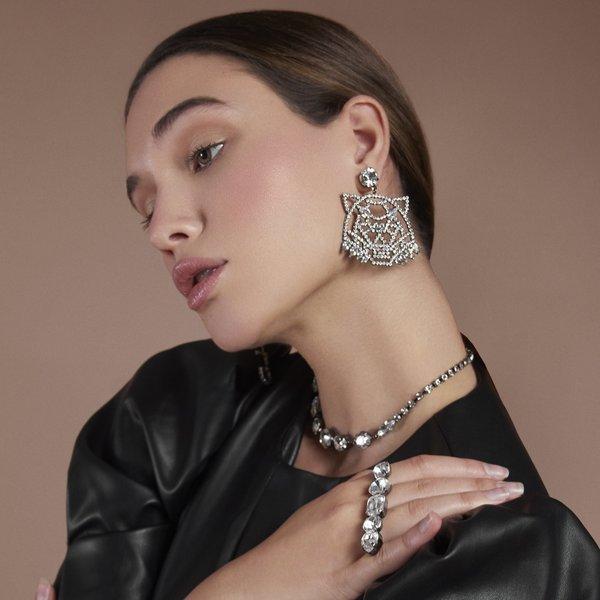 Joomi Lim Wild Tiger Crystal Earrings - Hematite/Crystal