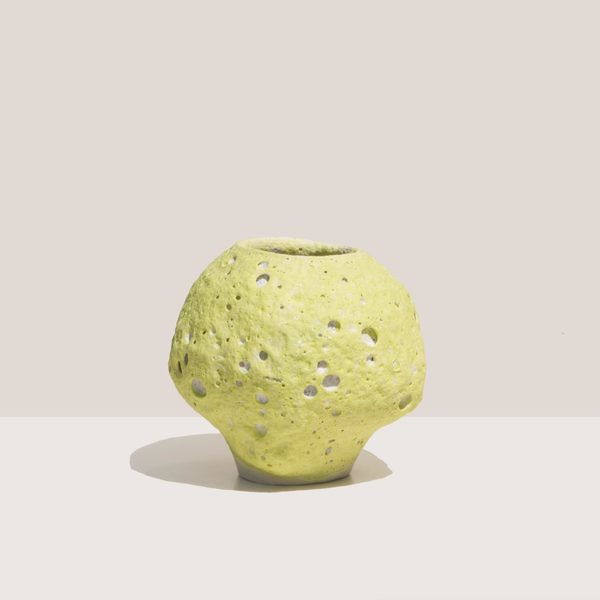 Raina Lee Ceramics Small Moonjar vase - Chartreuse