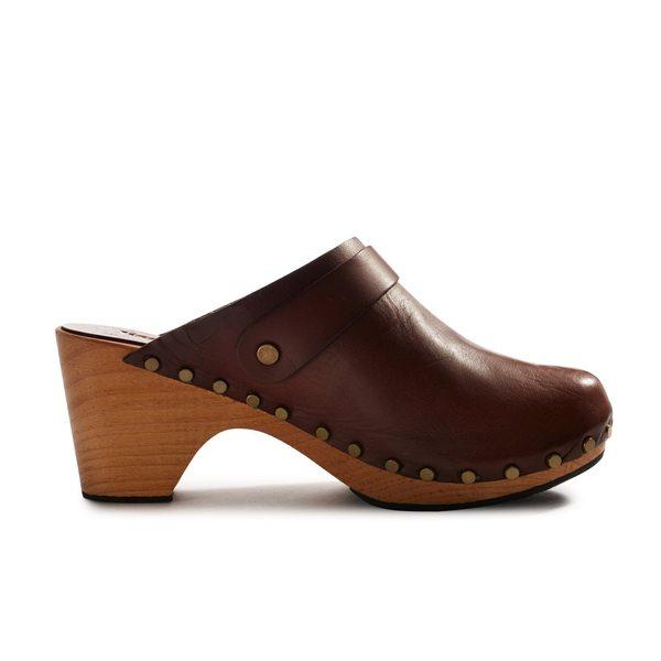 Lisa B. high heel leather clogs - acorn