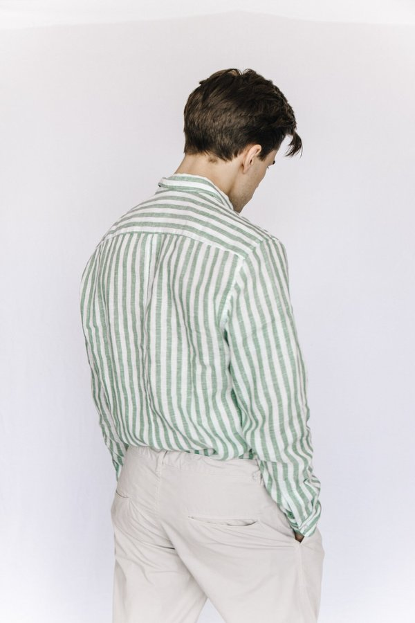 Frank and Eileen Striped Linen Button Down - Green