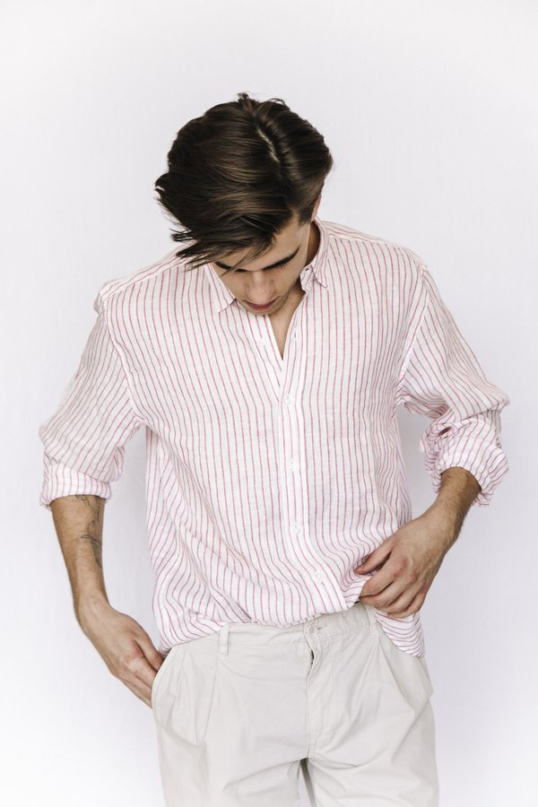 Frank and Eileen Linen Striped Button Down