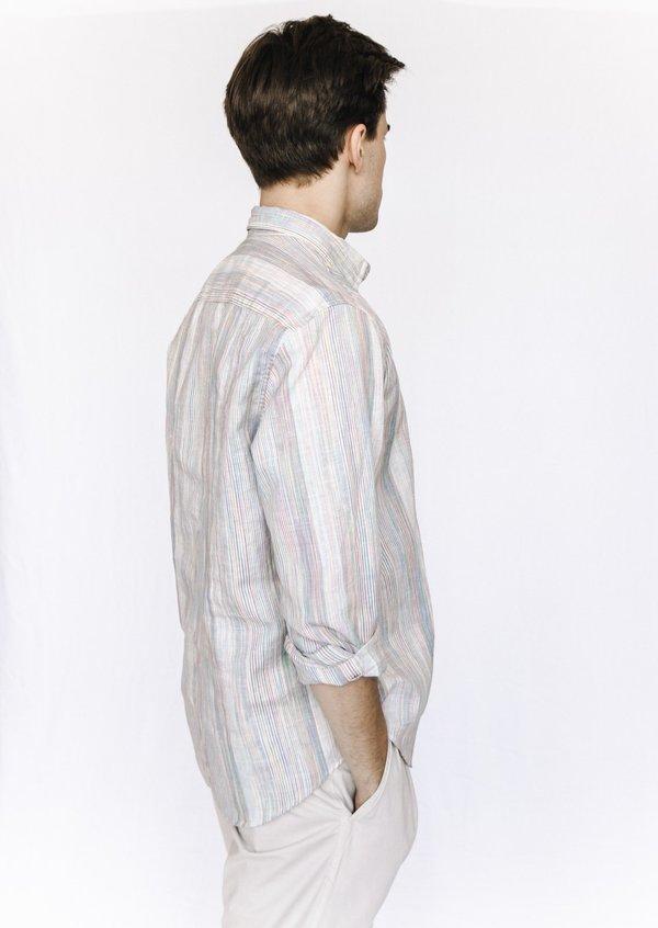 Frank and Eileen Linen Button Down - Multicolored Stripe