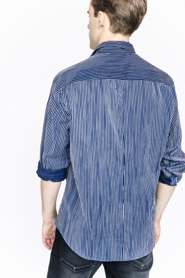 Frank and Eileen Button Down - Navy Striped