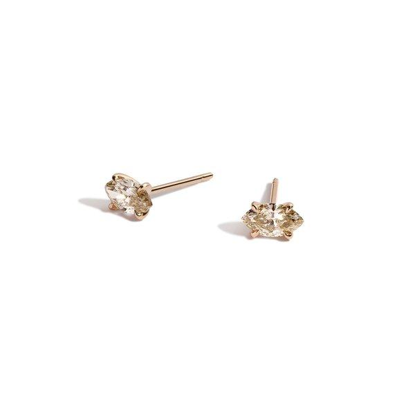 Shahla Karimi Champagne Marquise Earrings - 14k gold