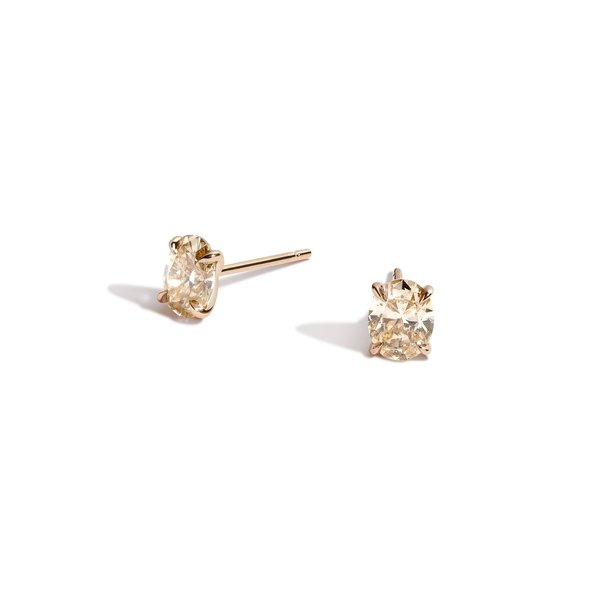 Shahla Karimi Champagne Oval Earrings - 14k gold