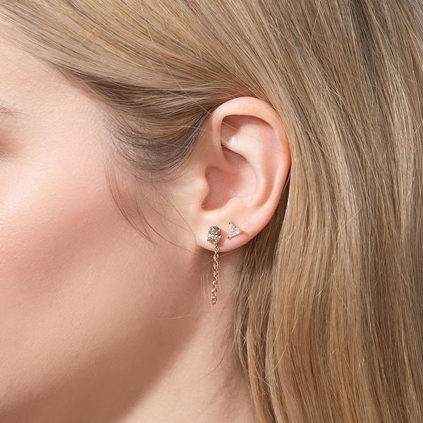 Shahla Karimi Triangle Diamond Earrings - 14k Yellow Gold