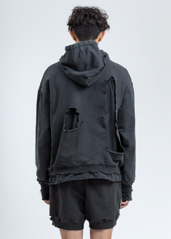 C2H4 Vagrant Double Layer Distressed Hoodie - Grey