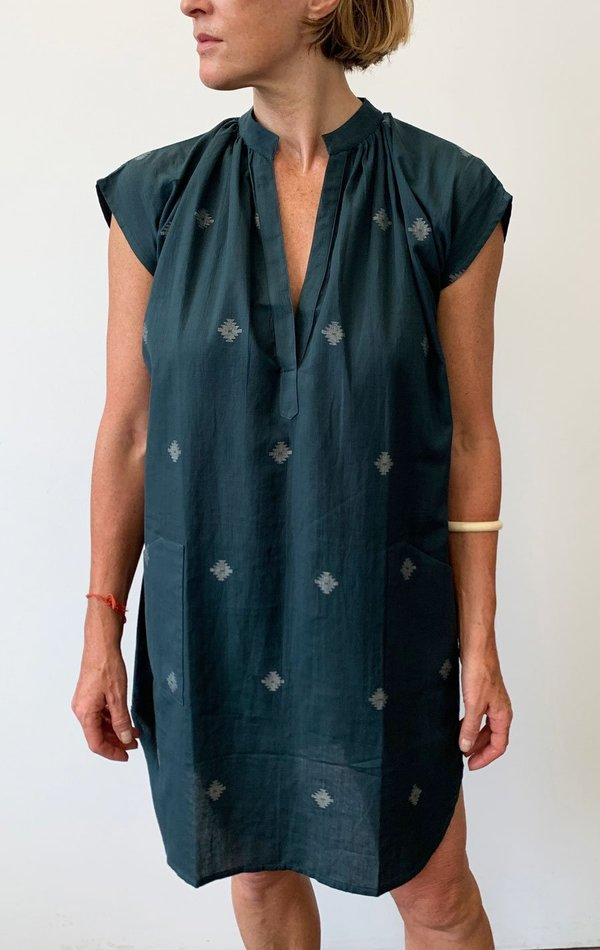 Two Khadi Pocket Tunic with Handwoven Motif - Teal