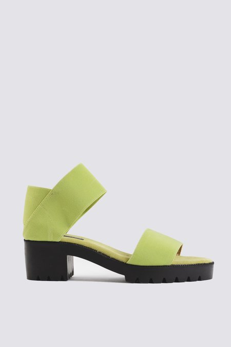 James Rowland Shop Elastic and Leather Dual Strap Sandal - Matcha