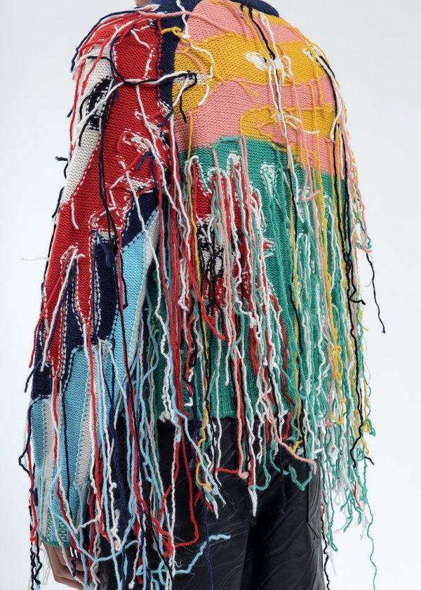 Charles Jeffrey Loverboy Artwork Sweater with Fringe Tassels - Multicolor