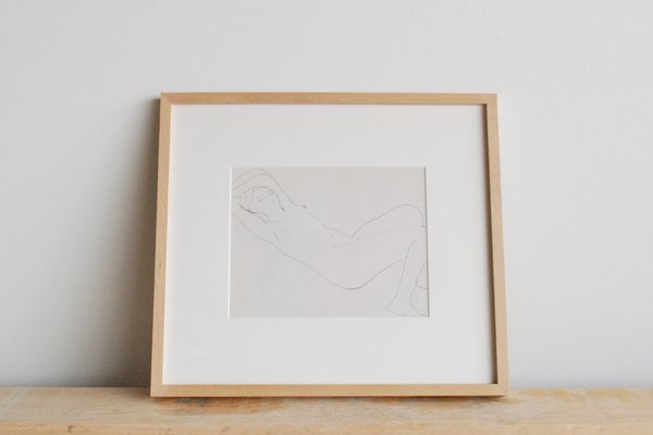 Anonyma Reclining Nude Barbara Dorf, Ink on Paper