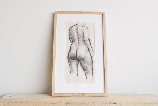 Anonyma Standing Nude from Back Barbara Dorf Charcoal on Paper