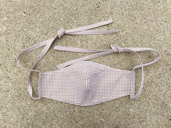 Tony Shirtmakers Lightweight Japanese Cotton Mini Gingham Seersucker Masks - Tan/White