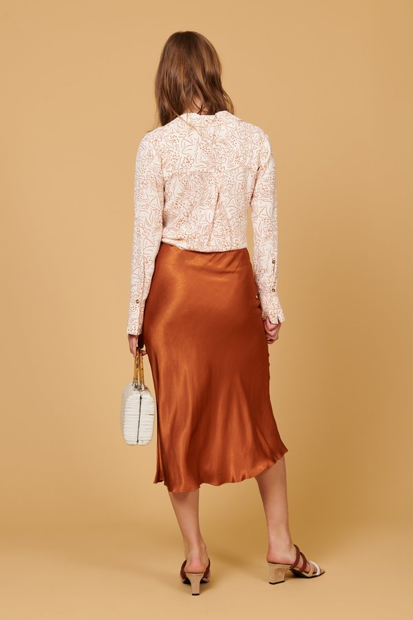 Whimsy + Row Maya Button Up Shirt - Natural Lady Print