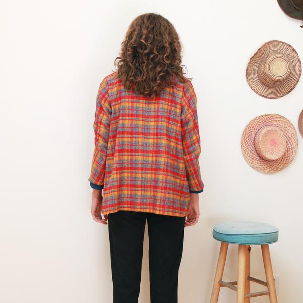 Me & Arrow Cardi Jacket - Fuzzy Red Plaid