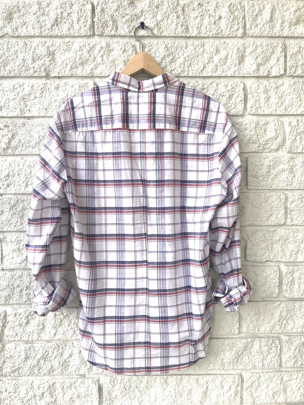 Frank & Eileen FINBAR PLAID LONG SLEEVE BUTTON DOWN - RED/NAVY WHITE PLAID