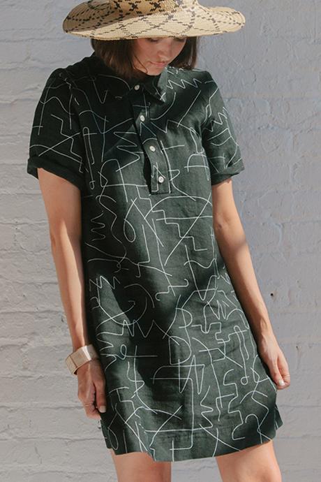 Dusen Dusen Black Wire Short Collared Dress