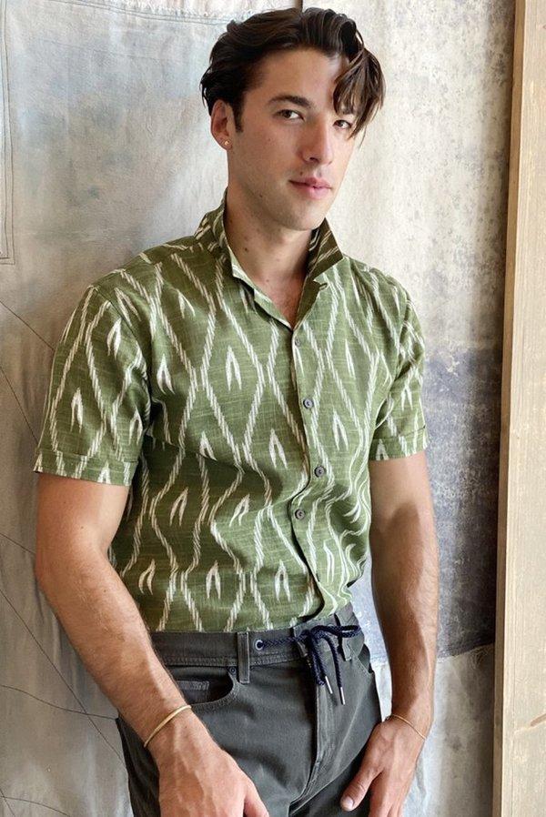 Raga Man SS Camp Collar Shirt - Green Ikat