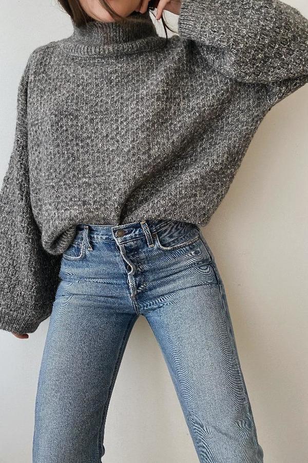 Wol Hide Tulip Sleeve Sweater - Grey