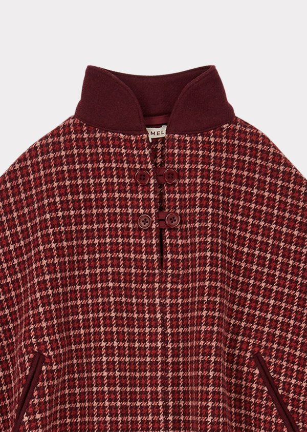 Kids Caramel Lapwing Cape - Red/berry Check