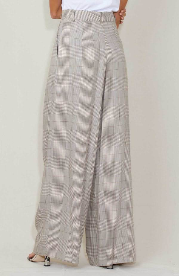 Shaina Mote Aya Plaid Trousers - Brown/White