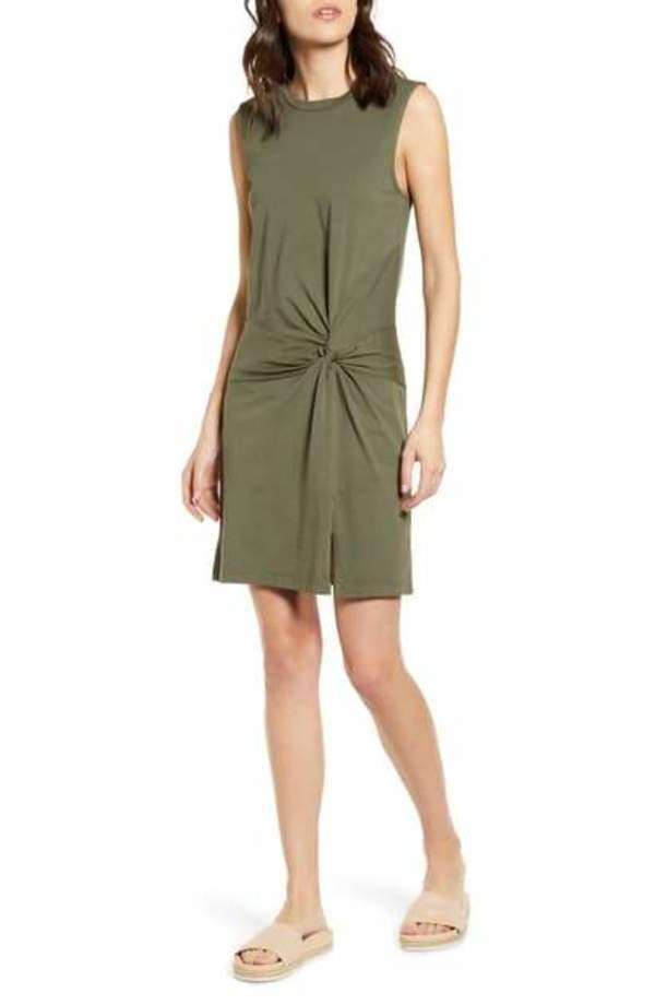 Stateside Supima Side Twist Dress - Army
