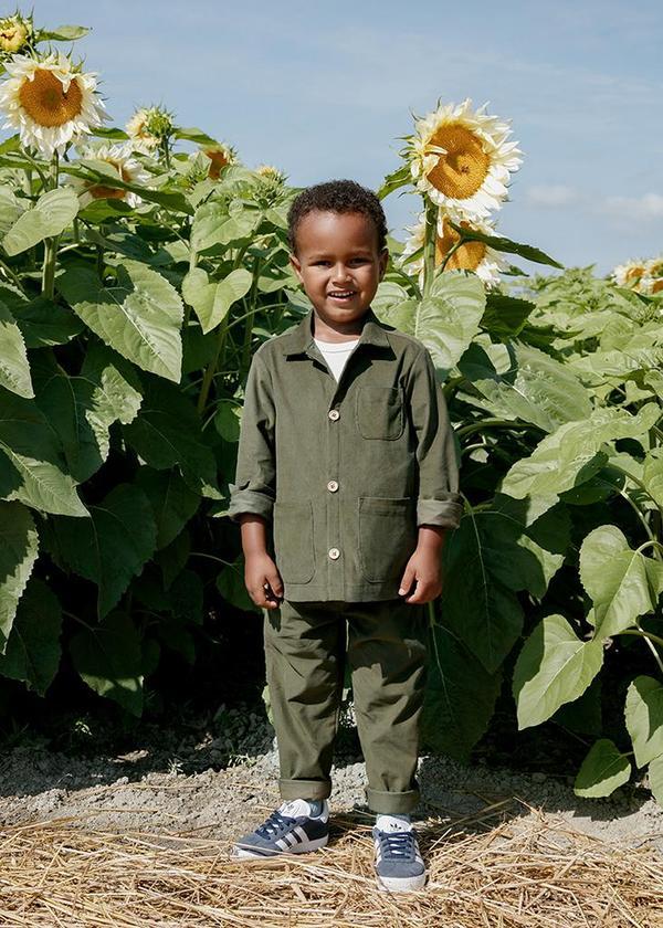 kids Petits Vilains Oscar Chore Shirt - Moss
