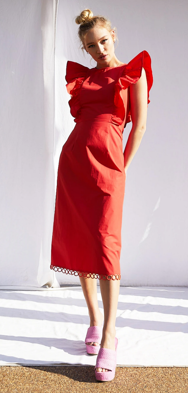 Never Fully Dressed Charming Midi Dress - Red