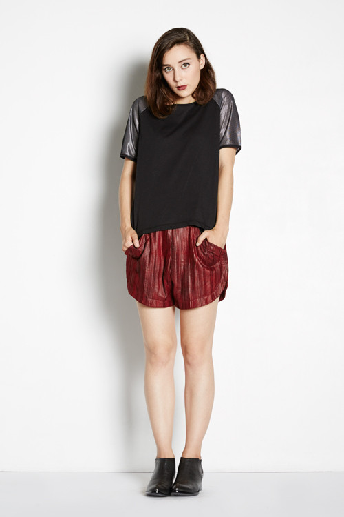 Pleated Track Shorts