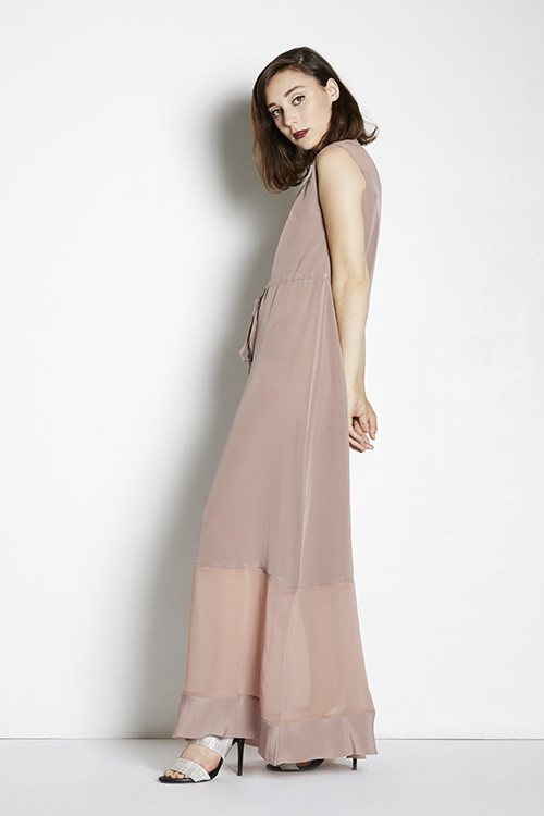 7115 Sheer Panel Maxi Dress