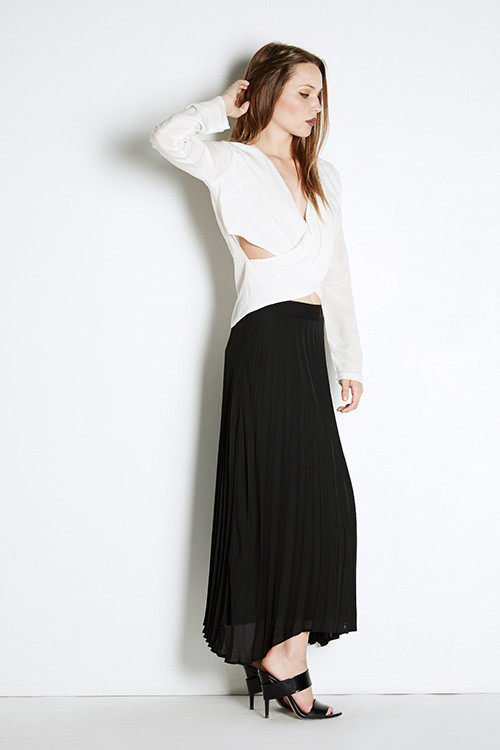 Myne Slate Pleated Skirt