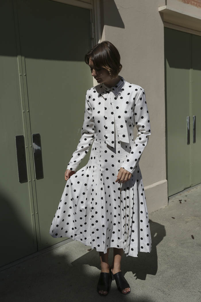 Maryam Nassir Zadeh Ana Tie Front Dress In Black White