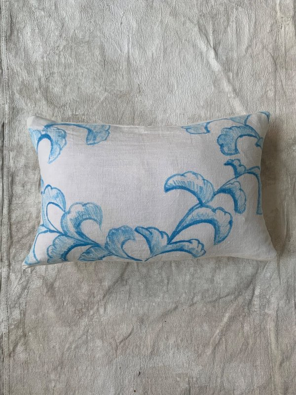 Cuttalossa & Co. Hand Painted Linen Series Lumbar Pillow - Leaves I