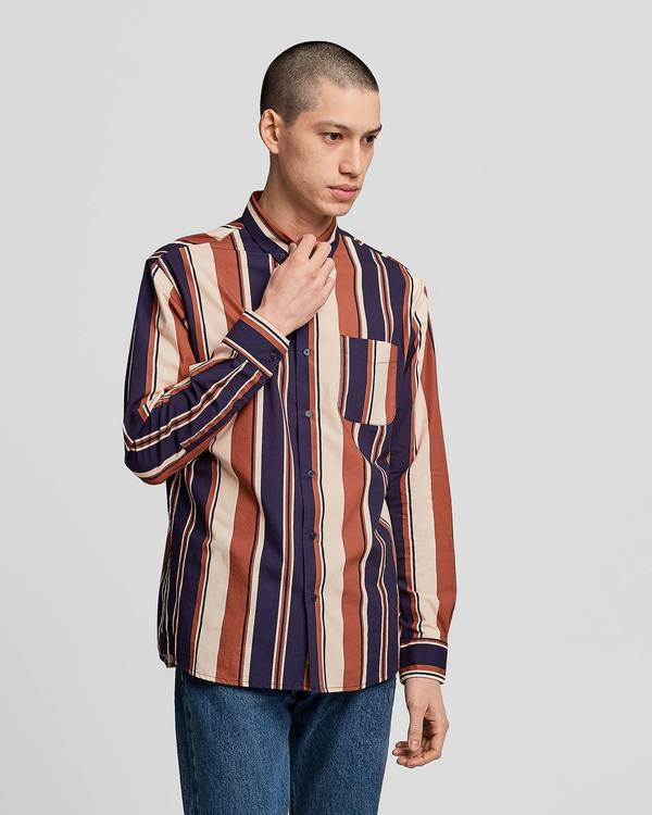 Poplin & Co. Retro Saddle Stripe Printed Casual Button Down Long Sleeve Shirt