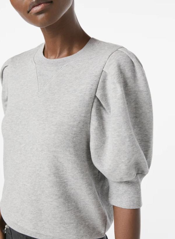 FRAME Denim Shirred Short Sleeve Sweatshirt - Heather Grey