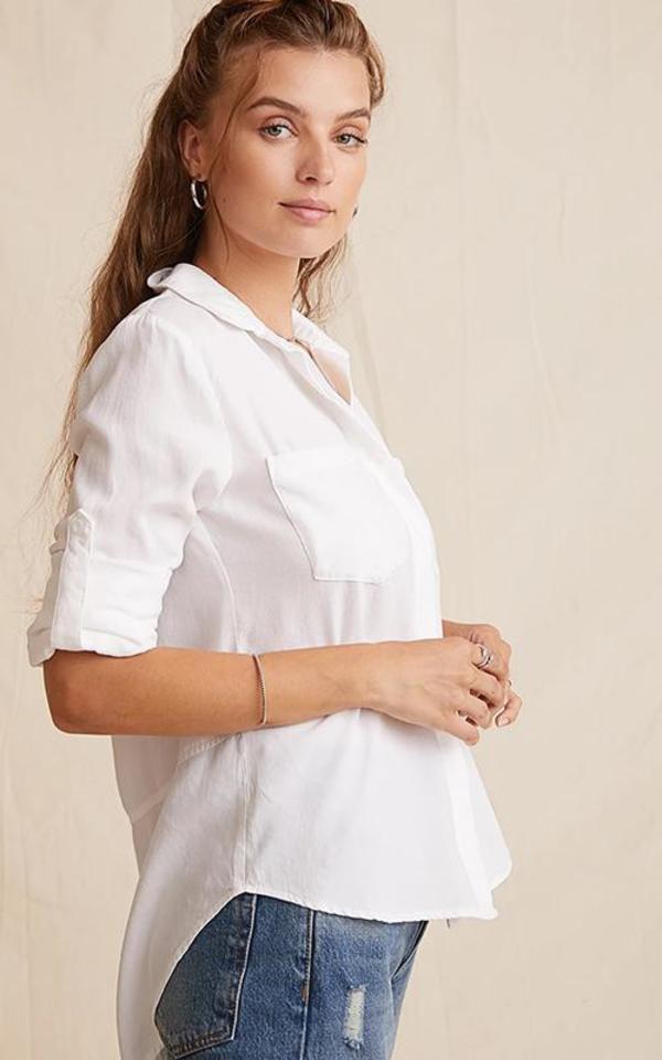 Bella Dahl Split Back Button Down - White