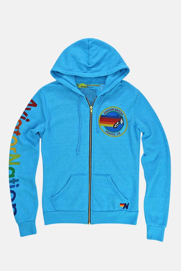 Aviator Nation Zip Hoodie - NEON BLUE