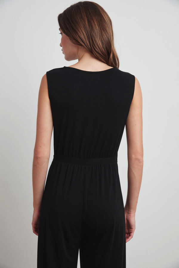 Velvet Mica Jumpsuit - Black