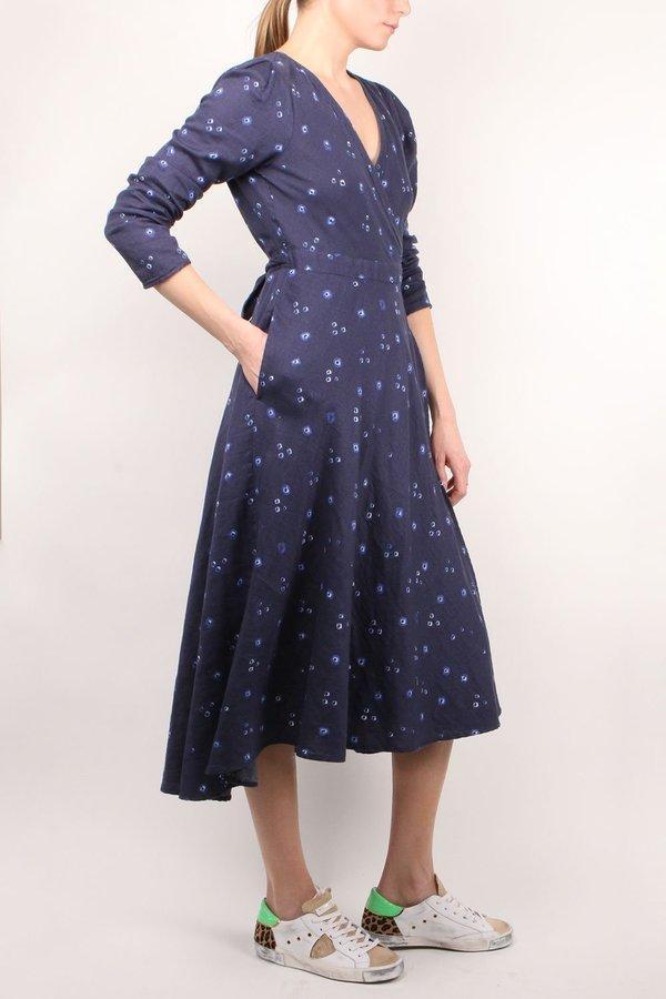 Xirena Reece Wrap Dress - Navy Print
