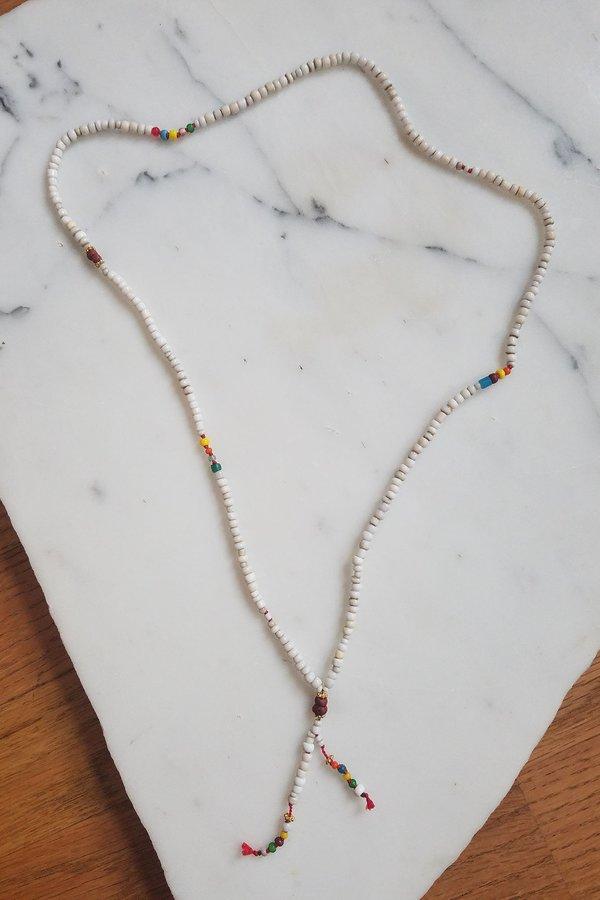 Cobamae Tasseled African Beads - White