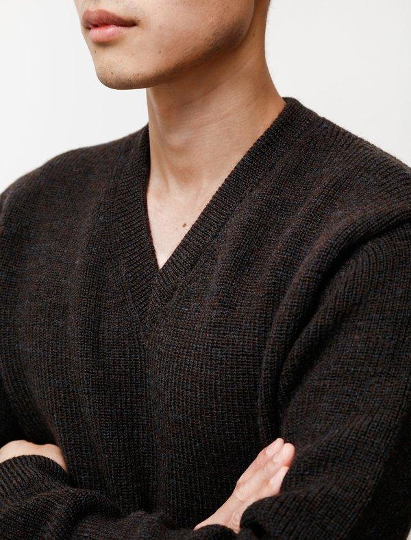 Lemaire Tweed V-Neck - Dark Brown