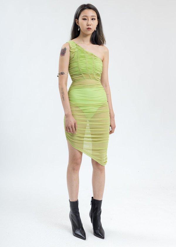 Danielle Guizio One Shoulder Ruched Dress - Lime
