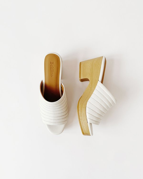 Beklina Ribbed Open Toe Clog - Off White