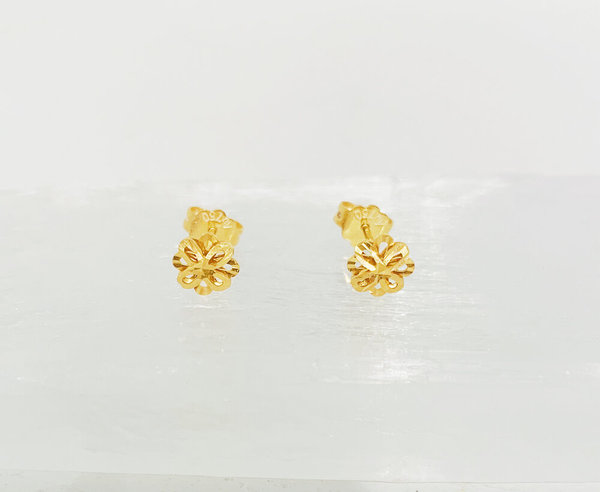 Mint Yunnan Flower Earring - 24k Gold