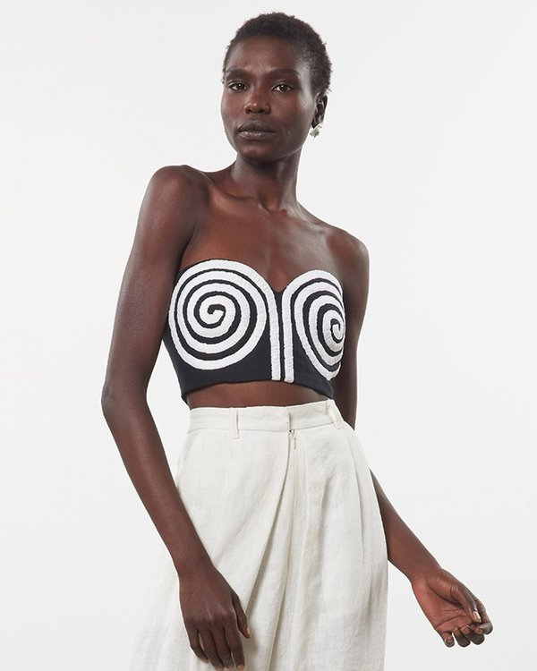 Mara Hoffman Mati Embroidered Top - Black/White